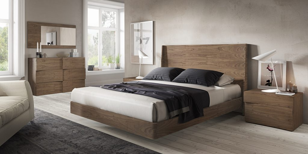 Habitación de matrimonio de diseño fabricada en madera natural