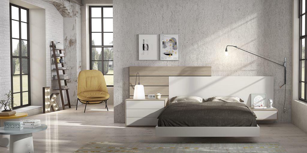 Habitación matrimonio lacada en blanco, estilo moderno