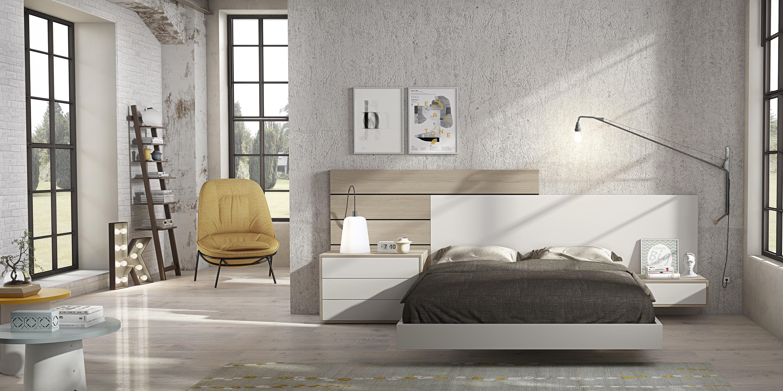 Dormitorio de matrimonio moderno en blanco lacado y madera - Dormitorios en blanco y madera ...