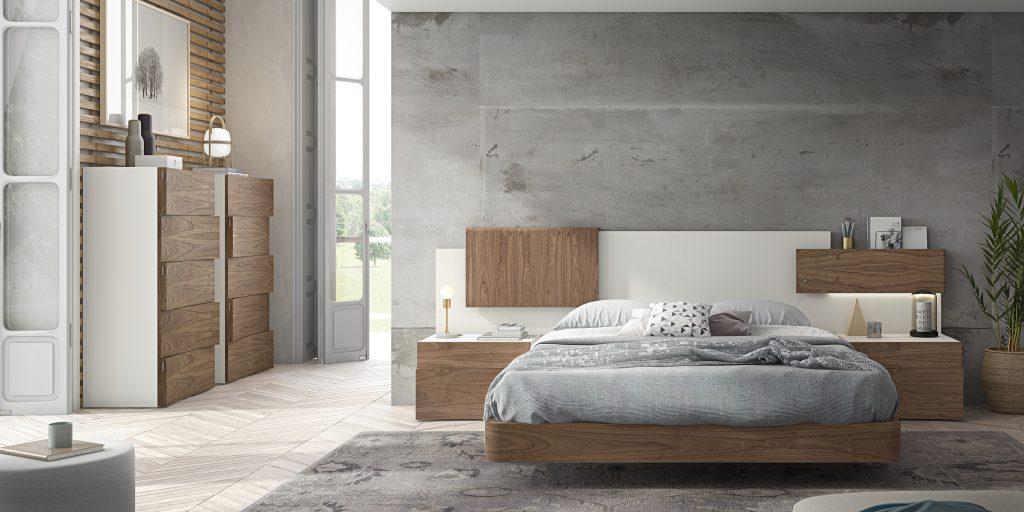 Habitación de matrimonio moderna en blanco con detalles de madera