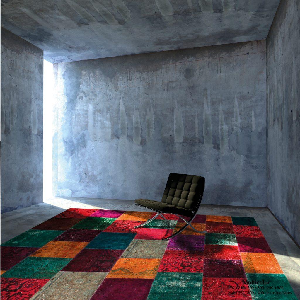 Alfombra mosaico múltiples colores