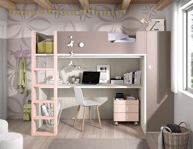 Habitación juvenil cama elevada con escritorio bajo