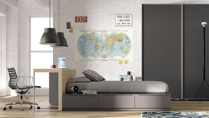 cama de cajones con estudio en el cabezal