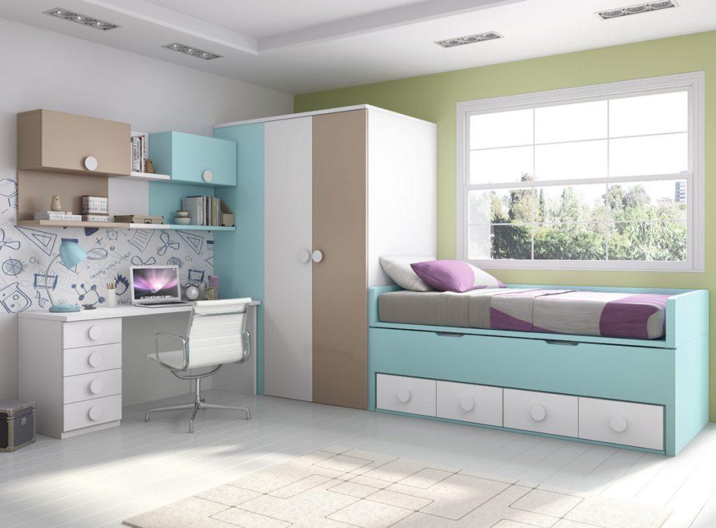 Dormitorio juvenil cama compacta con armario vestidor y escritorio