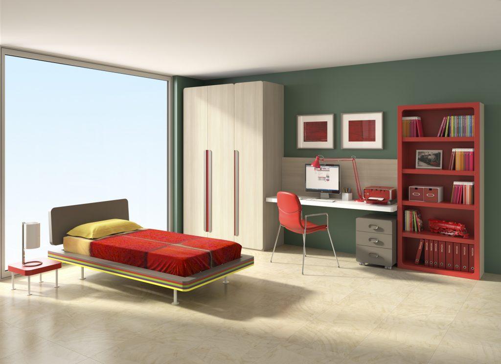 cama individual y escritorio lacados