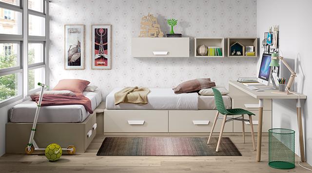 camas en esquina con cajones
