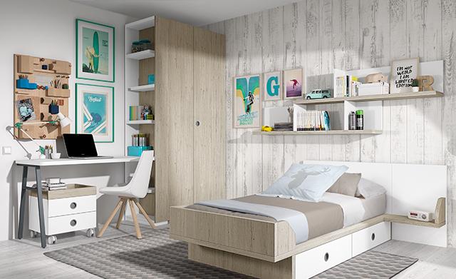 cama individual escritorio y armario